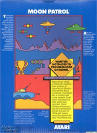 Box back cover for Moon Patrol on the Microsoft DOS.