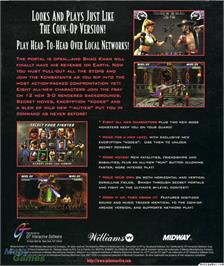 Box back cover for Mortal Kombat 3 on the Microsoft DOS.