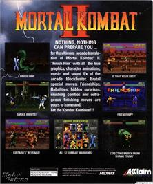Box back cover for Mortal Kombat II on the Microsoft DOS.