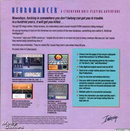 Box back cover for Neuromancer on the Microsoft DOS.