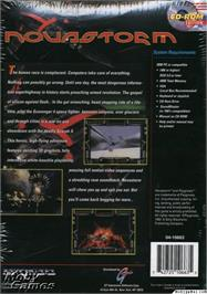 Box back cover for Novastorm on the Microsoft DOS.