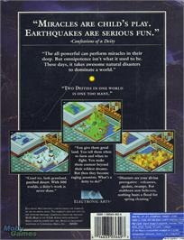 Box back cover for Populous on the Microsoft DOS.
