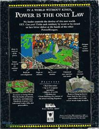 Box back cover for PowerMonger on the Microsoft DOS.