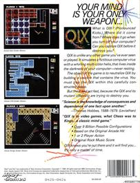 Box back cover for QIX on the Microsoft DOS.