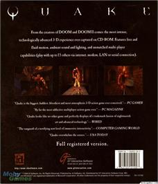 Box back cover for Quake on the Microsoft DOS.