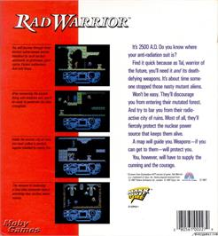 Box back cover for Rad Warrior on the Microsoft DOS.