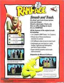 Box back cover for Rampage on the Microsoft DOS.