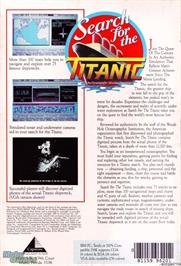 Box back cover for Search for the Titanic on the Microsoft DOS.