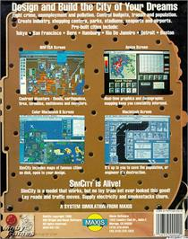 Box back cover for SimCity on the Microsoft DOS.