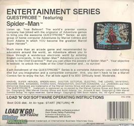 Box back cover for Spiderman on the Microsoft DOS.
