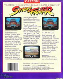 Box back cover for Street Fighter on the Microsoft DOS.