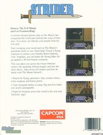 Box back cover for Strider on the Microsoft DOS.