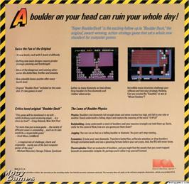 Box back cover for Super Boulder Dash on the Microsoft DOS.