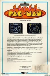 Box back cover for Super Pac-Man on the Microsoft DOS.