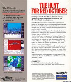 Box back cover for The Hunt for Red October on the Microsoft DOS.