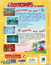 Box back cover for The Smurfs on the Microsoft DOS.