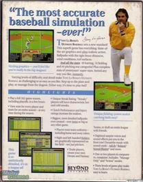 Box back cover for Tony La Russa's Ultimate Baseball on the Microsoft DOS.