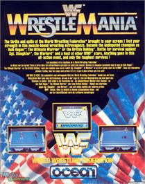 Box back cover for WWF Wrestlemania on the Microsoft DOS.