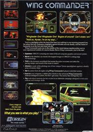 Box back cover for Wing Commander on the Microsoft DOS.