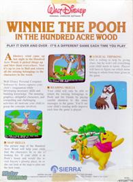Box back cover for Winnie the Pooh in the Hundred Acre Wood on the Microsoft DOS.
