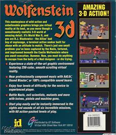 Box back cover for Wolfenstein 3D on the Microsoft DOS.