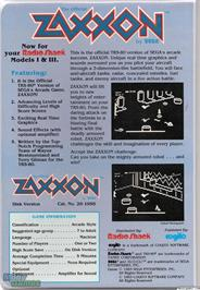 Box back cover for Zaxxon on the Microsoft DOS.