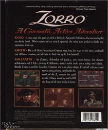 Box back cover for Zorro on the Microsoft DOS.