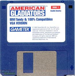 Artwork on the Disc for American Gladiators on the Microsoft DOS.