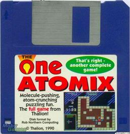Artwork on the Disc for Atomix on the Microsoft DOS.