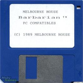 Artwork on the Disc for Barbarian on the Microsoft DOS.