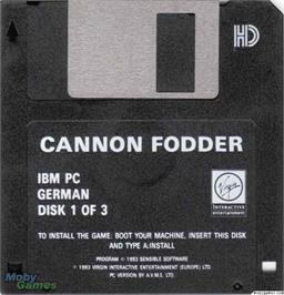 Artwork on the Disc for Cannon Fodder on the Microsoft DOS.