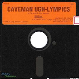 Artwork on the Disc for Caveman Ugh-Lympics on the Microsoft DOS.