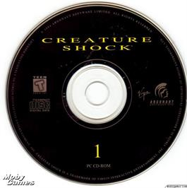 Artwork on the Disc for Creature Shock on the Microsoft DOS.