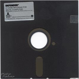 Artwork on the Disc for Defender on the Microsoft DOS.