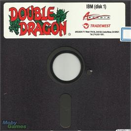 Artwork on the Disc for Double Dragon on the Microsoft DOS.