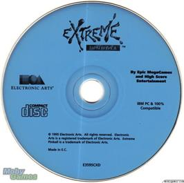 Artwork on the Disc for Extreme Pinball on the Microsoft DOS.