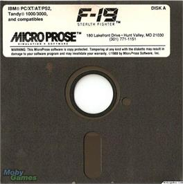 Artwork on the Disc for F-19 Stealth Fighter on the Microsoft DOS.
