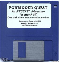 Artwork on the Disc for Forbidden Quest on the Microsoft DOS.