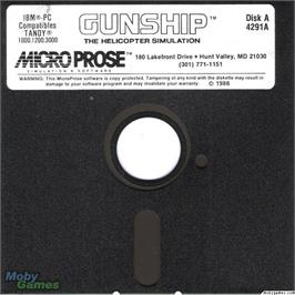 Artwork on the Disc for Gunship on the Microsoft DOS.