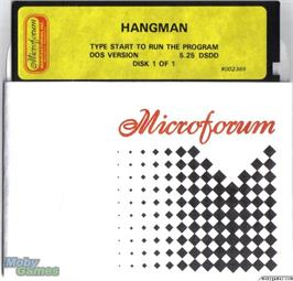 Artwork on the Disc for Hangman on the Microsoft DOS.