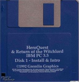 Artwork on the Disc for Hero Quest on the Microsoft DOS.