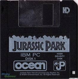 Artwork on the Disc for Jurassic Park on the Microsoft DOS.