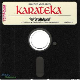 Artwork on the Disc for Karateka on the Microsoft DOS.