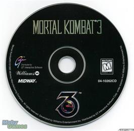 Artwork on the Disc for Mortal Kombat 3 on the Microsoft DOS.