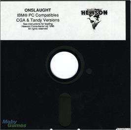 Artwork on the Disc for Onslaught on the Microsoft DOS.