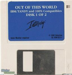 Artwork on the Disc for Out of This World on the Microsoft DOS.