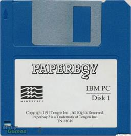 Artwork on the Disc for Paperboy 2 on the Microsoft DOS.