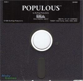Artwork on the Disc for Populous on the Microsoft DOS.