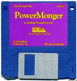 Artwork on the Disc for PowerMonger on the Microsoft DOS.