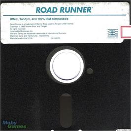 Artwork on the Disc for Road Runner on the Microsoft DOS.